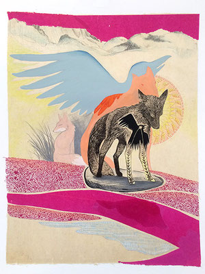 """Fox: Souls. 2017, approx 20"""" x 16""""w, multiple plate relief engraving, collage, acrylic, graphite. SOLD, Inquire on CONTACT page for similar commission."""