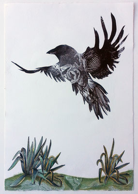 """Raven Returns. 2016, approx 22""""h x 15""""w, multiple plate relief engraving. SOLD, Inquire on CONTACT page for similar commission."""
