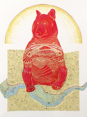 "Bear: Sunrise with Map, approx 14""h x 11""w; relief engraving, mixed media, collage"
