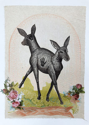 "Deer, Garden, approx 10""h x 8""w, relief engraving, collage, mixed media $150 AVAILABLE"