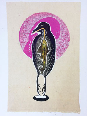 """Raven: Pink, approx 12""""h x9""""w, relief engraving, collage, acrylic, SOLD"""