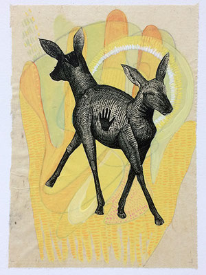 """Double Deer Hand, approx 10""""h x 8""""w, relief engraving, arcylic, $175"""