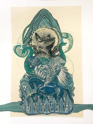 """Pillar of Fire II. 2017, approx 20""""h x 16""""w, multiple plate relief engraving, mixed media. SOLD, Inquire on CONTACT page for similar commission."""