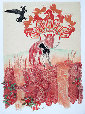 """Fox: Signs. 2017, approx 22""""h x 16""""w, multiple plate relief engraving, collage, mixed media. Created as an artist in residence at Jentel Foundation in Banner, WY.  SOLD"""