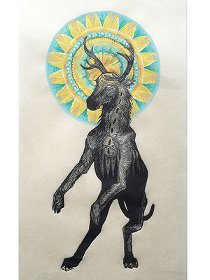"Mountain Saint: Elk. 2016, approx 10""h x 8""w, relief engraving and acrylic. SOLD, Inquire on CONTACT page for similar commission."