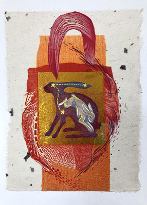 "Rabbit Abstract,   approx 12""h x 9""w, relief engraving, collage, mixed media $175 AVAILABLE"