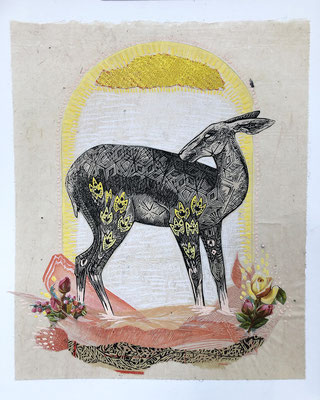 "Doe, Summer,  approx 10""h x 8""w, relief engraving, collage, mixed media $150 AVAILABLE"