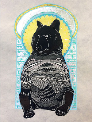"Mountain Saint: Bear. 2016, approx 12""h x 10""w, relief engraving and acrylic, silver leaf. SOLD, Inquire on CONTACT page for similar commission."