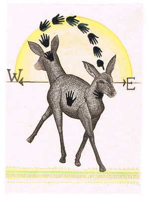 "Deer of East West, approx 10""h x 8""w, relief engraving, mixed media, collage, SOLD"