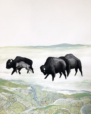"Buffalo Tryptic, part 3, 28""h x 22""w, India Ink, acrylic, collage. $1200"