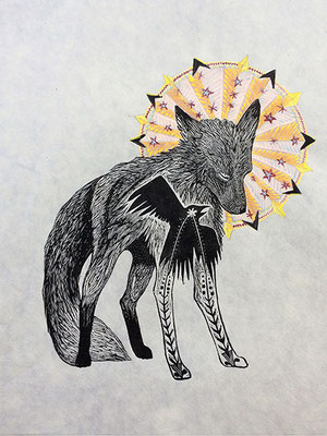 """Mountain Saint: Fox. 2016, approx 12""""h x 10""""w, relief engraving and acrylic. SOLD, Inquire on CONTACT page for similar commission."""