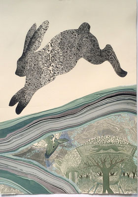 """Rabbit Run. 2016, approx 22""""h x 15""""w, multiple plate relief engraving. SOLD, Inquire on CONTACT page for similar commission."""