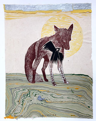 "Pensive Fox, approx 14""h x 11""w, relief engraving, collage, mixed media $275, series of 7, 4 more available, but may vary slightly from image. AVAILABLE"