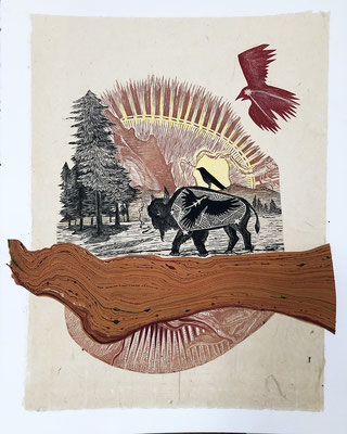 """Westward Journey, approx 14""""h x 11""""w, relief engraving, mixed media, collage. SOLD"""
