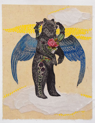 """Angel Bear, 10""""h x 8""""w, relief engraving, mixed media, collage, SOLD"""