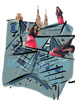 Déconfinement J1 - sur les toits (C) Poley Luard 2020 // dessin Gabrielle Tacconi