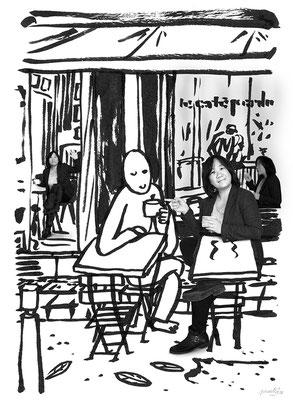 Déconfinement J2 - le Café Perdu (C) Poley Luard 2020 // dessin Paatrice-HSH