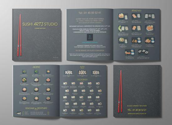 Conception et prise de vue du menu du restaurant SUSHI ARTS STUDIO à Paris