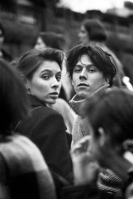 Deux étudiants dans une manifestation, Clermont-Fd