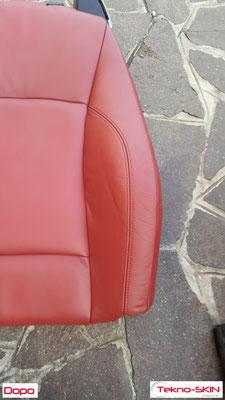 RISTRUTTURAZIONE  SEDILI PELLE BMW Z4  - Sostituzione Specchiatura Schienale Lato Guida  - Ristrutturazione Zone Consumate  - Colorazione Completa a Campione - Dopo