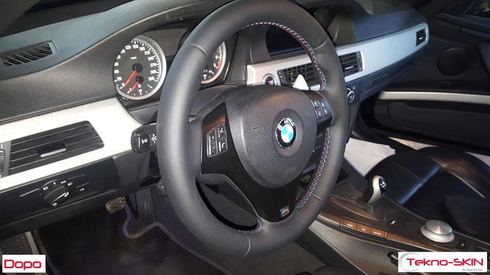 VOLANTE BMW  Ripellamento completo in Pelle Liscia Nera e cuciture diamantate colori M3 - Dopo