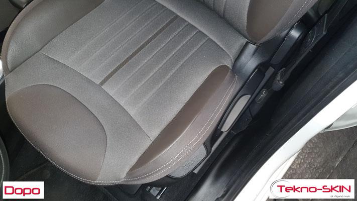 RIPARAZIONE FIANCHETTO SEDILE LATO GUIDA FIAT 500L  - Sostituzione Porzione Pelle Danneggiata  - Colorazione a Campione - Dopo