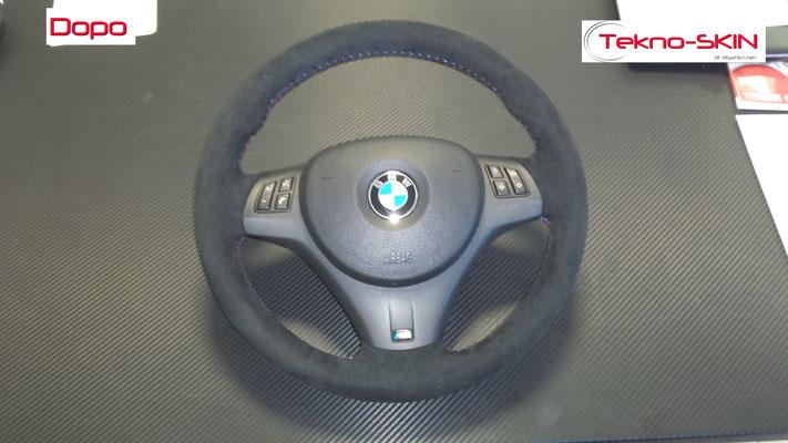 VOLANTE BMW Ripellamento completo in Alcantara e cuciture diamantate colori M3 - Dopo