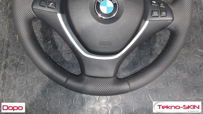 VOLANTE BMW X6  - Ripellamento completo in Pelle Punzonata Nera  - Cuciture Diamantate Nere - Dopo