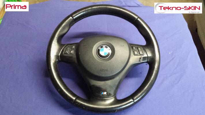 VOLANTE BMW Ripellamento completo in Alcantara e cuciture diamantate colori M3 Ristrutturazione Coperchio Tasti Funzione - Prima