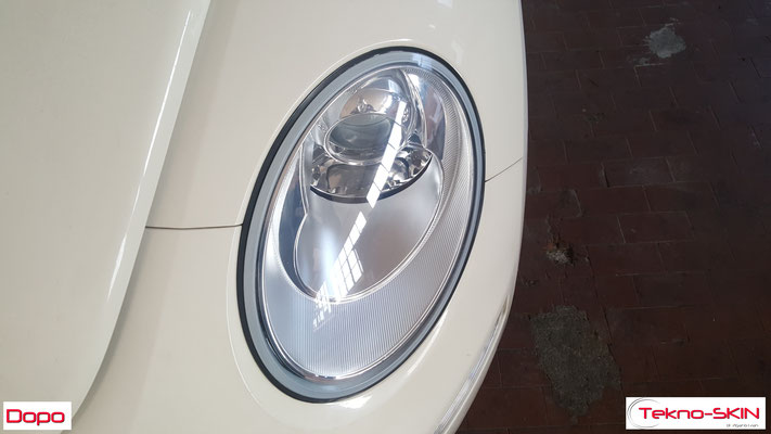 LUCIDATURA FARI ANTERIORI VW NEW BEETLE  Lucidatura Avanzata - Dopo