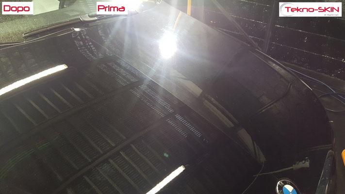 LUCIDATURA CARROZZERIA BMW 320  - Lucidatura 3 Step con Compound  - Stesura Sigillante Finale effetto Seta - Prima