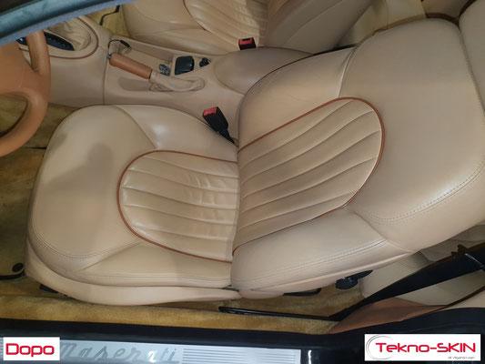RISTRUTTURAZIONE SEDILE PELLE MASERATI GT3200  - Riparazione Fianchetto e Spallina Sedile Lato Guida  - Colorazione a Campione - Dopo
