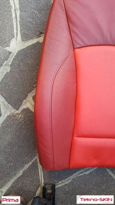 RISTRUTTURAZIONE  SEDILI PELLE BMW Z4  - Sostituzione Specchiatura Schienale Lato Guida  - Ristrutturazione Zone Consumate  - Colorazione Completa a Campione - Prima