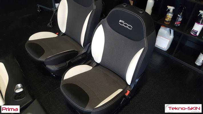RICOLORAZIONE FIANCHETTI SEDILI FIAT 500L  Colorazione in Nero dei Fianchetti di Pelle Bianchi di Seduta e Schienale Sedili Fiat 500L - Prima