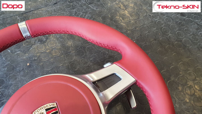 VOLANTE PORSCHE CAYMAN S  Ripellamento completo in Pelle Rosso Carrera   Mirino Centrale Argento Satinato  Cuciture Diamantate Rosse - Dopo