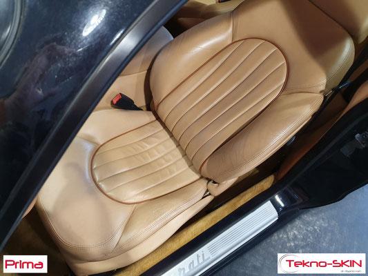 RISTRUTTURAZIONE SEDILE PELLE MASERATI GT3200  - Riparazione Fianchetto e Spallina Sedile Lato Guida  - Colorazione a Campione - Prima