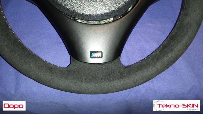 VOLANTE BMW Ripellamento completo in Alcantara e cuciture diamantate colori M3 Ristrutturazione Coperchio Tasti Funzione - Dopo