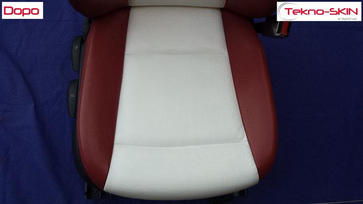 RIPARAZIONE SEDILE PELLE BMW SERIE 1 - TUNING Ricolorazione Seduta Rovinata da una precedente lavorazione errata - Dopo