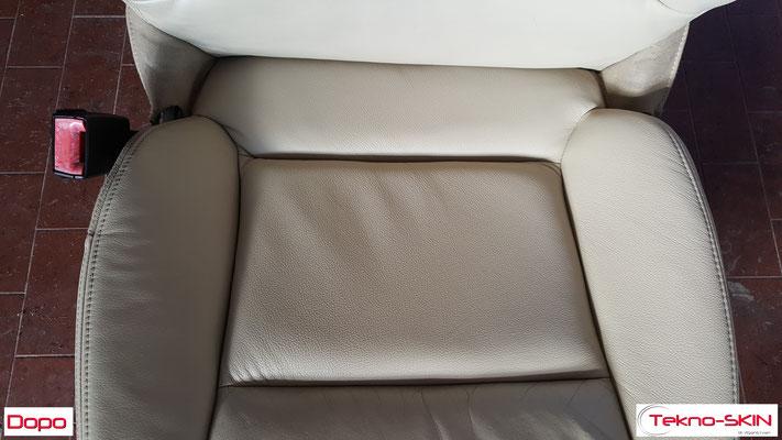 RISTRUTTURAZIONE SEDILI IN PELLE AUDI A3  - Riparazione con Sostituzione Porzioni in Pelle Deteriorati  - Colorazione a Campione - Dopo