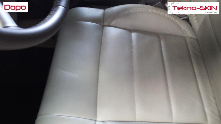 RIPARAZIONE SEDILE PELLE JEEP wrangler Pulizia Macchia Vernice Seduta Lato Guida Ricolorazione Seduta Lato Guida - Dopo