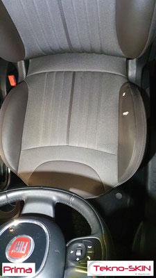 RIPARAZIONE FIANCHETTO SEDILE LATO GUIDA FIAT 500L  - Sostituzione Porzione Pelle Danneggiata  - Colorazione a Campione - Prima