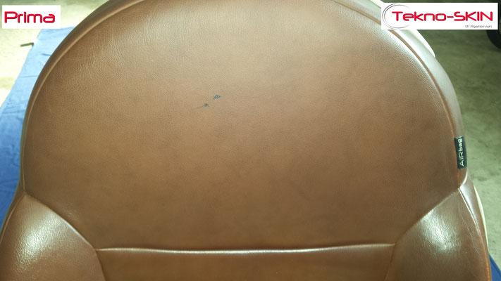 RIPARAZIONE SEDILE PELLE FIAT 500 Riparazione Spalletta e Fianchetto Usurati Riparazione Inestetismi Seduta Colorazione Frontale Completa - Prima