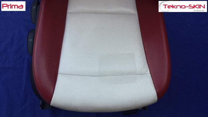 RIPARAZIONE SEDILE PELLE BMW SERIE 1 - TUNING Ricolorazione Seduta Rovinata da una precedente lavorazione errata - Prima