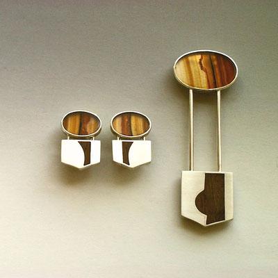 Nadel + Ohrschmuck  •  Silber 925, Achat, Palisander (2012)