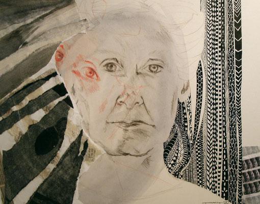 Autoportrait, technique mixte sur papier
