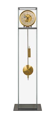 """Uhr und Radwerk """"Gold"""" / Mondphase mit Perlmutt und Strenenhimmel / Freistehendes Glasgehäuse"""