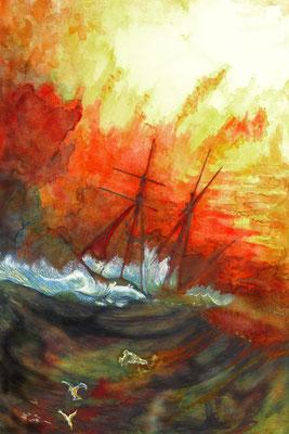 """Aquarell & Gouache - Lasuren & Pinsel - """" KRISE  IST  EIN  PRODUKTIVER  ZUSTAND """""""