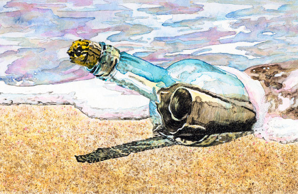 "Scriptol & Aquarell - "" BUCHILLUSTRATION   -  THE  MESSAGE  IN  A  BOTTLE """