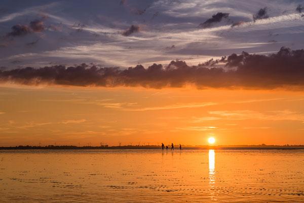 Wattwanderung im Sonnenuntergang in Hooksiel