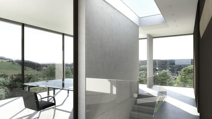 Die offene Treppe in das Arbeitsgeschoss des Bauherren